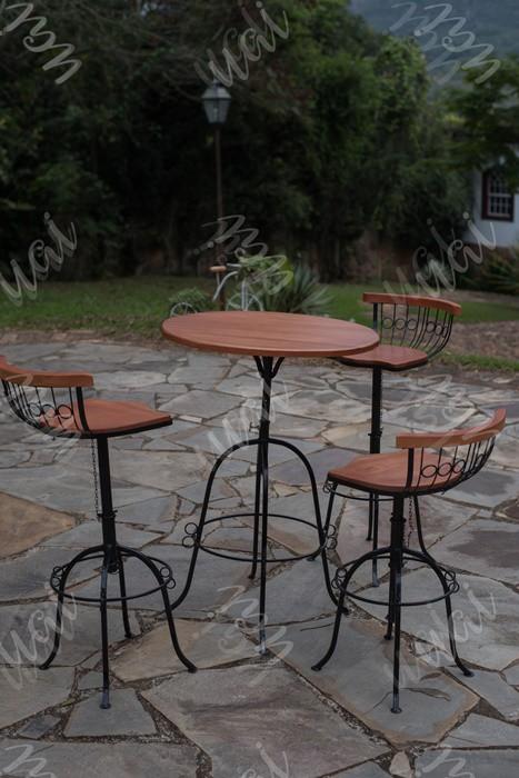 Conjunto bistro 3 cadeiras encosto baixo rustico artesanal