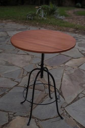 Conjunto bistro 3 cadeiras ferro madeira rustico artesanal