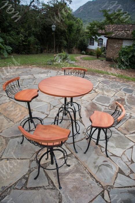 Conjunto bistro 4 cadeiras encosto baixo rustico artesanal