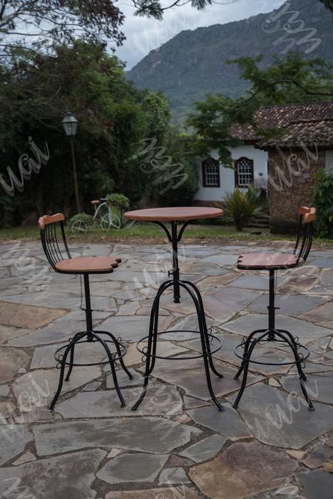 Conjunto bistro 50cm 2 cadeiras ferro madeira rustico artesanal