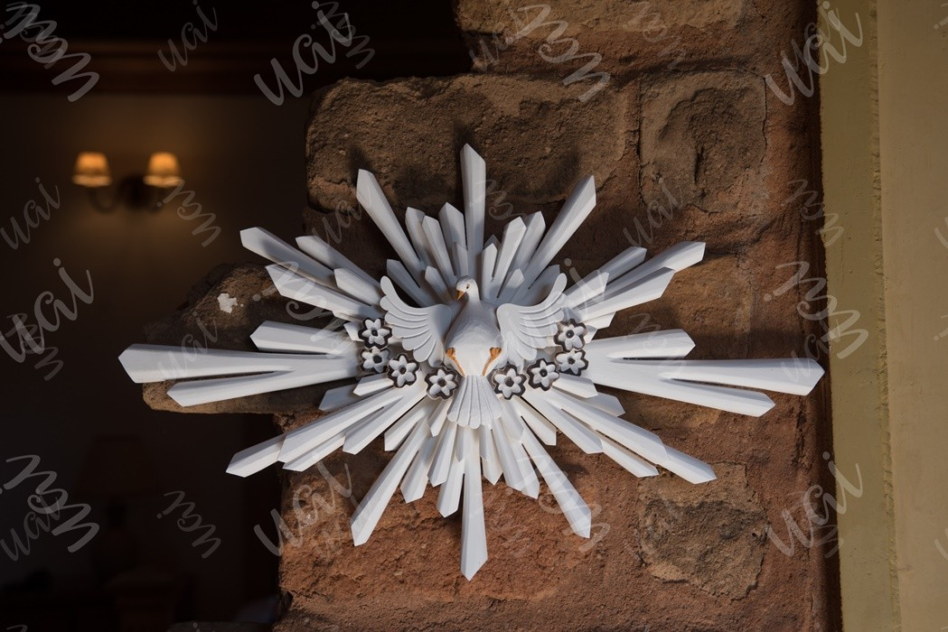 Divino espírito santo resplendor branco oval ferro madeira rustico artesanal