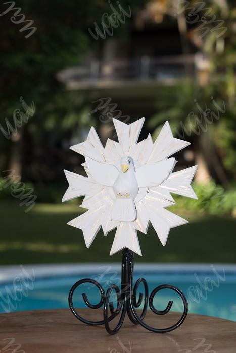 Divino espírito santo resplendor de mesa branco rustico ferro e madeira