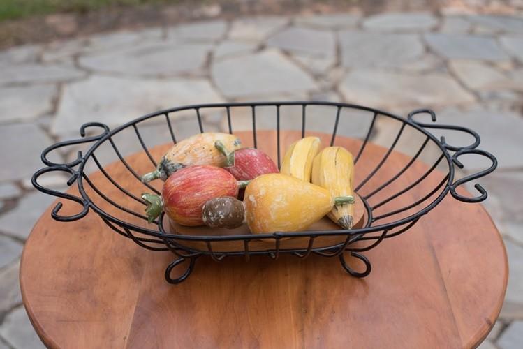 Fruteira de mesa oval grande rustico artesanal ferro e madeira