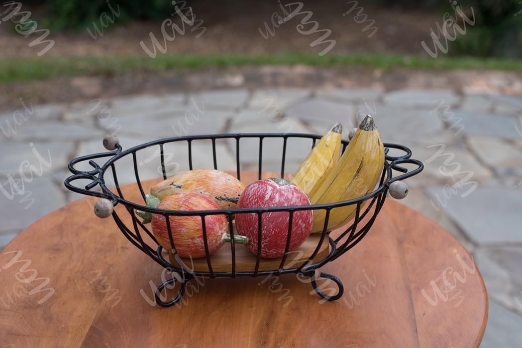 Fruteira de mesa oval rustica artesanal ferro e madeira
