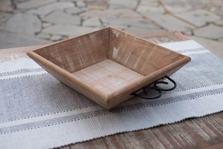 Fruteira de mesa quadrada madeira rustica artesanal