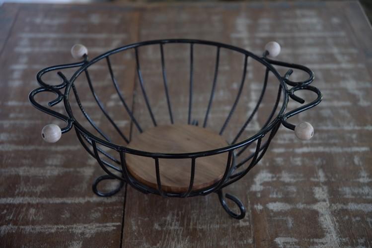 Fruteira de mesa redonda rústica artesanal ferro e madeira