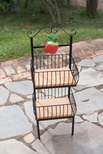 Fruteira quadrada 2 andares ferro madeira rustica artesanal