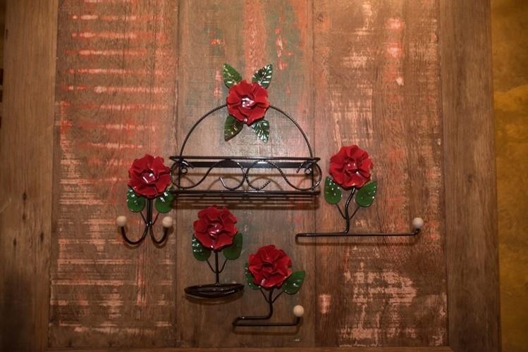 Kit banheiro 5 peças flor de ferro rustico artesanal