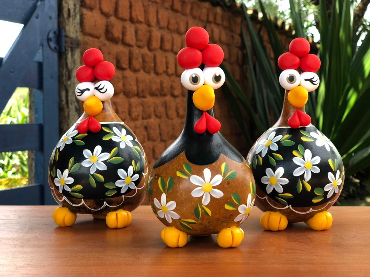Kit Galinha Rustica De Cabaça Artesanal floral