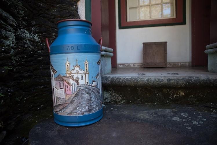 Lata de leite decorativa pintura paisagem rustica artesanal