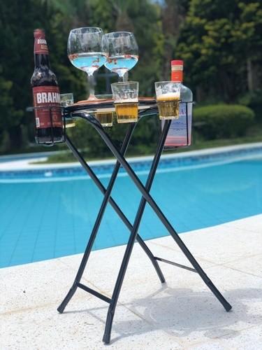 Mesa bar porta bebidas em ferro e maderia rústico