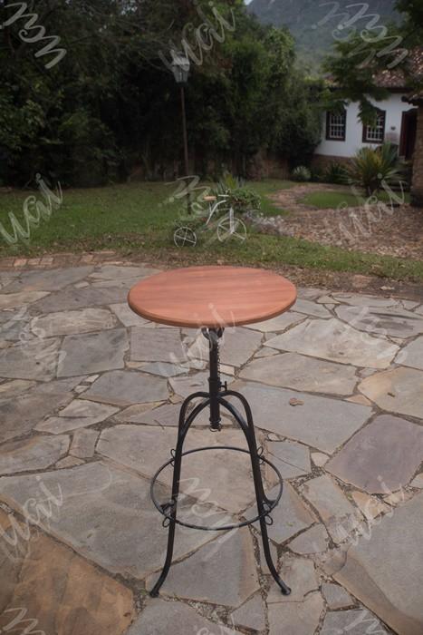Mesa bistro 50cm ferro madeira rustico artesanal