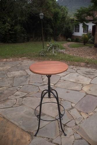Mesa bistrô de 50cm em ferro madeira rústica artesanal