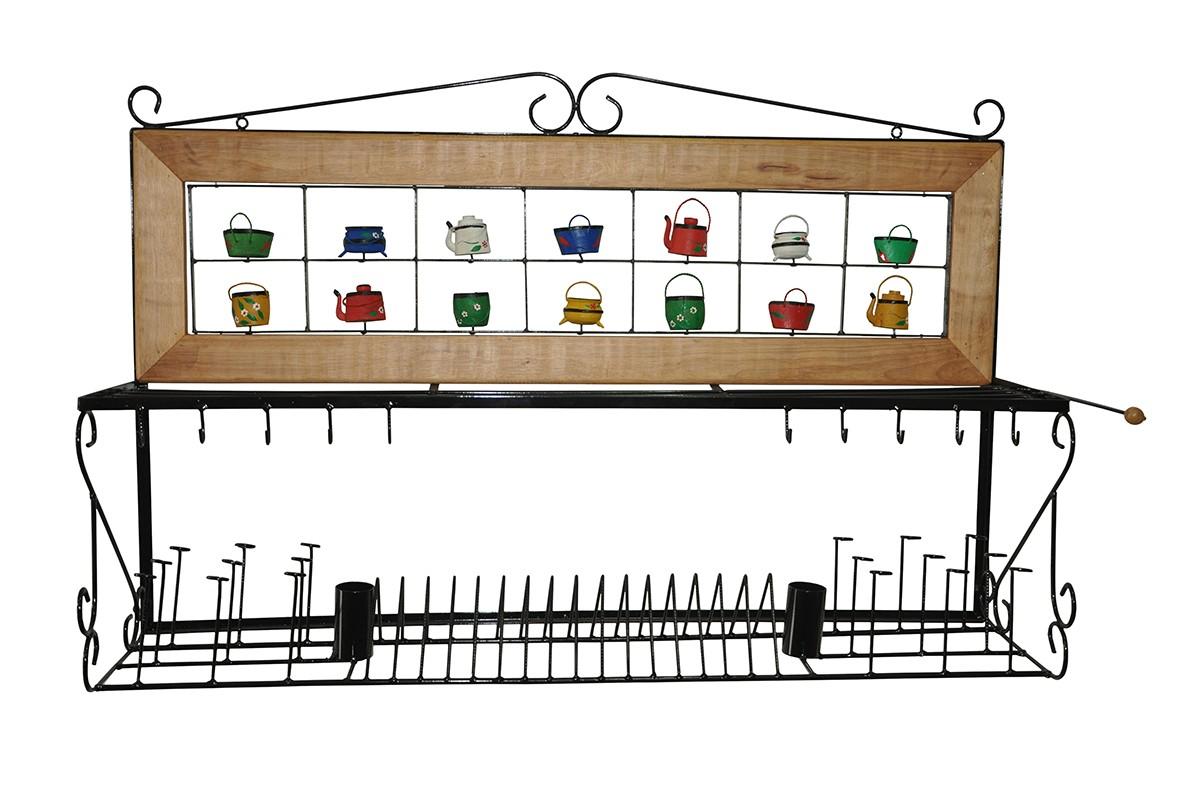 Paneleiro escorredor de 1,20mt ferro madeira rustico artesanal