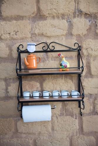 Porta condimento e papel ferro madeira rustico artesanal