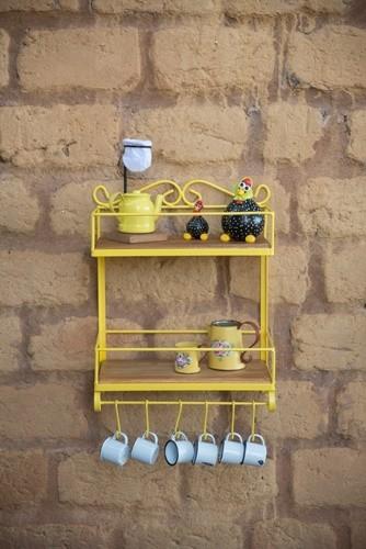Porta condimentos ferro madeira rustico artesanal