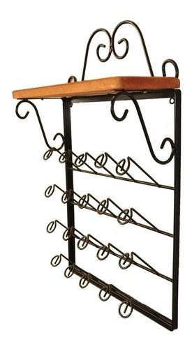 Porta copos de parede ferro madeira rustico artesanal