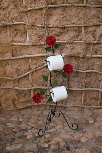 Porta papel higienico 3 flores rústico artesanal