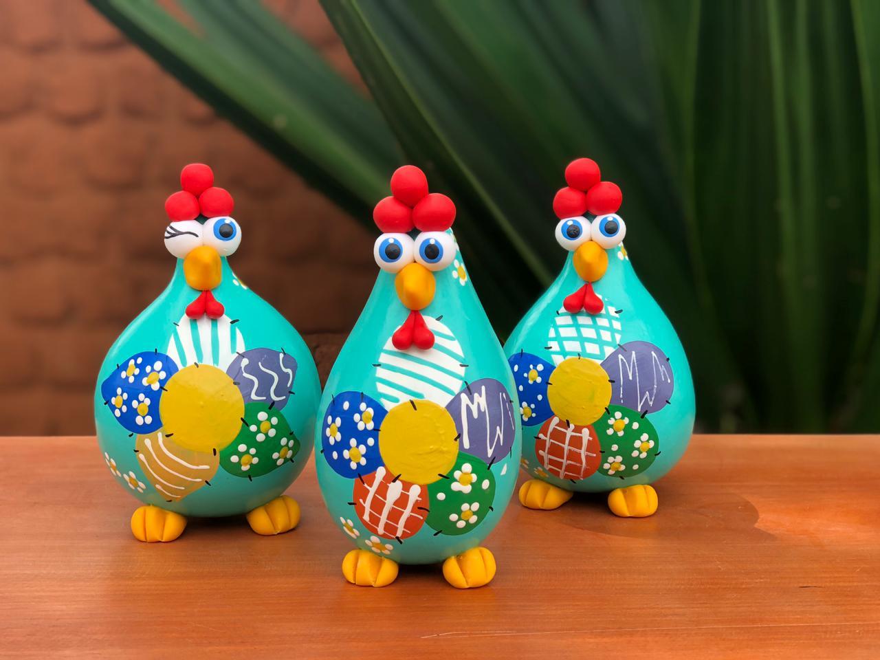 Trio decorativos de galinhas verde tifani - Retalho