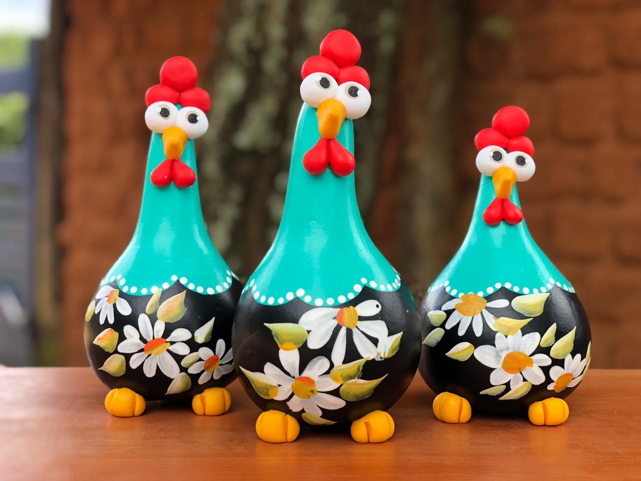 Trio Galinha Decorativa Em Cabaça Natural