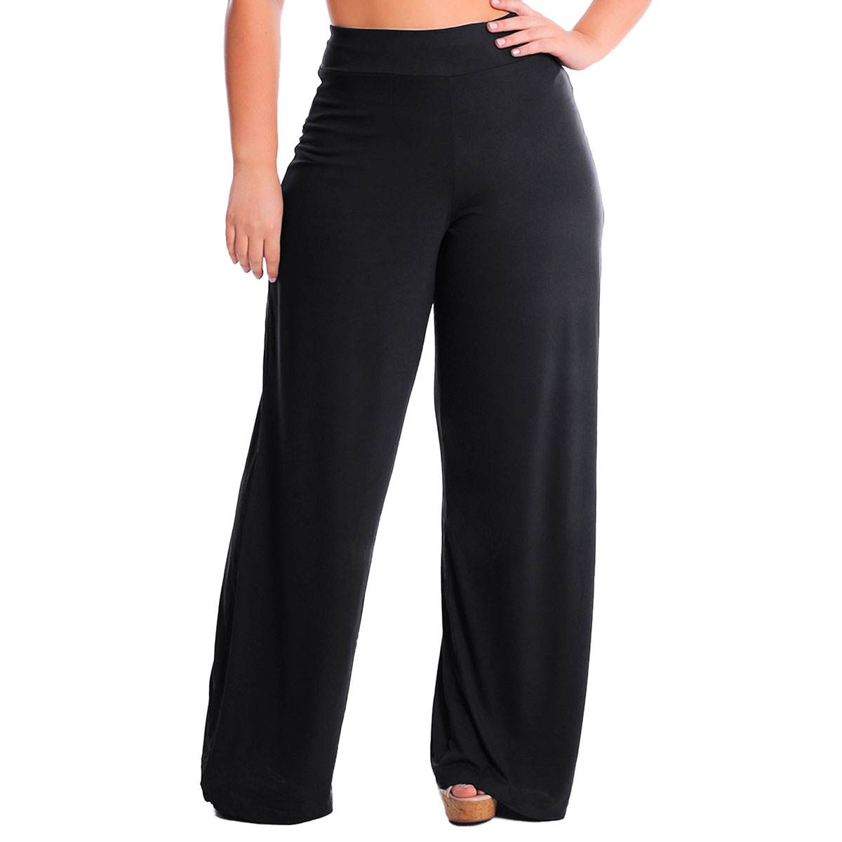 Calça Pantalona Com Bolso Cintura Alta Plus Size Lynnce