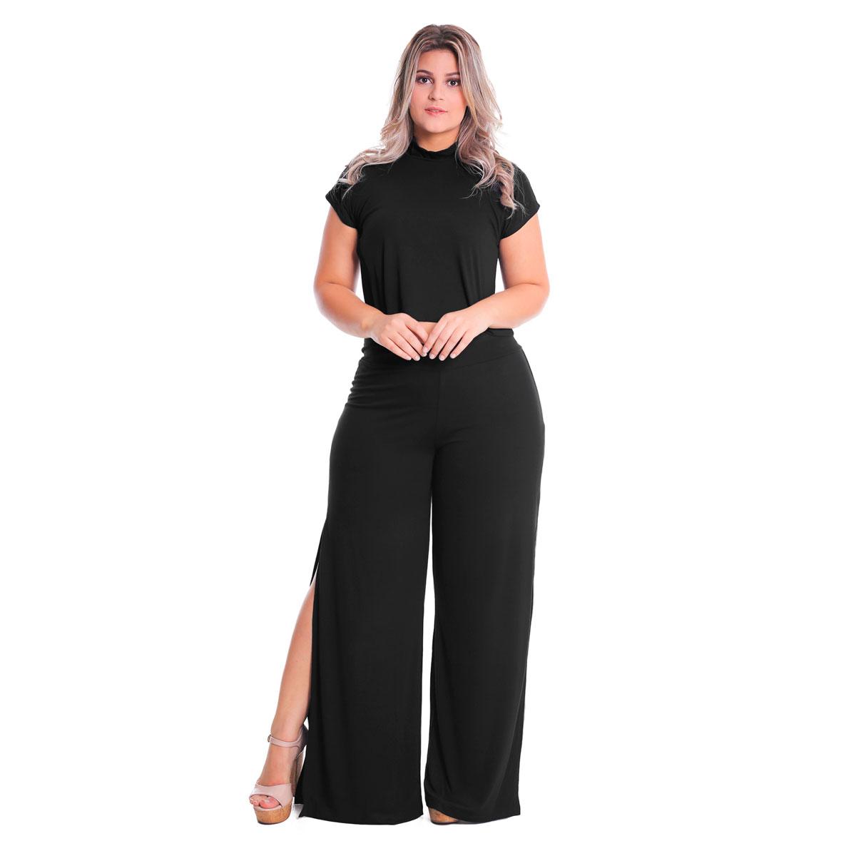 Calça Pantalona Com Bolso Laterais Abertas Plus Size Lynnce