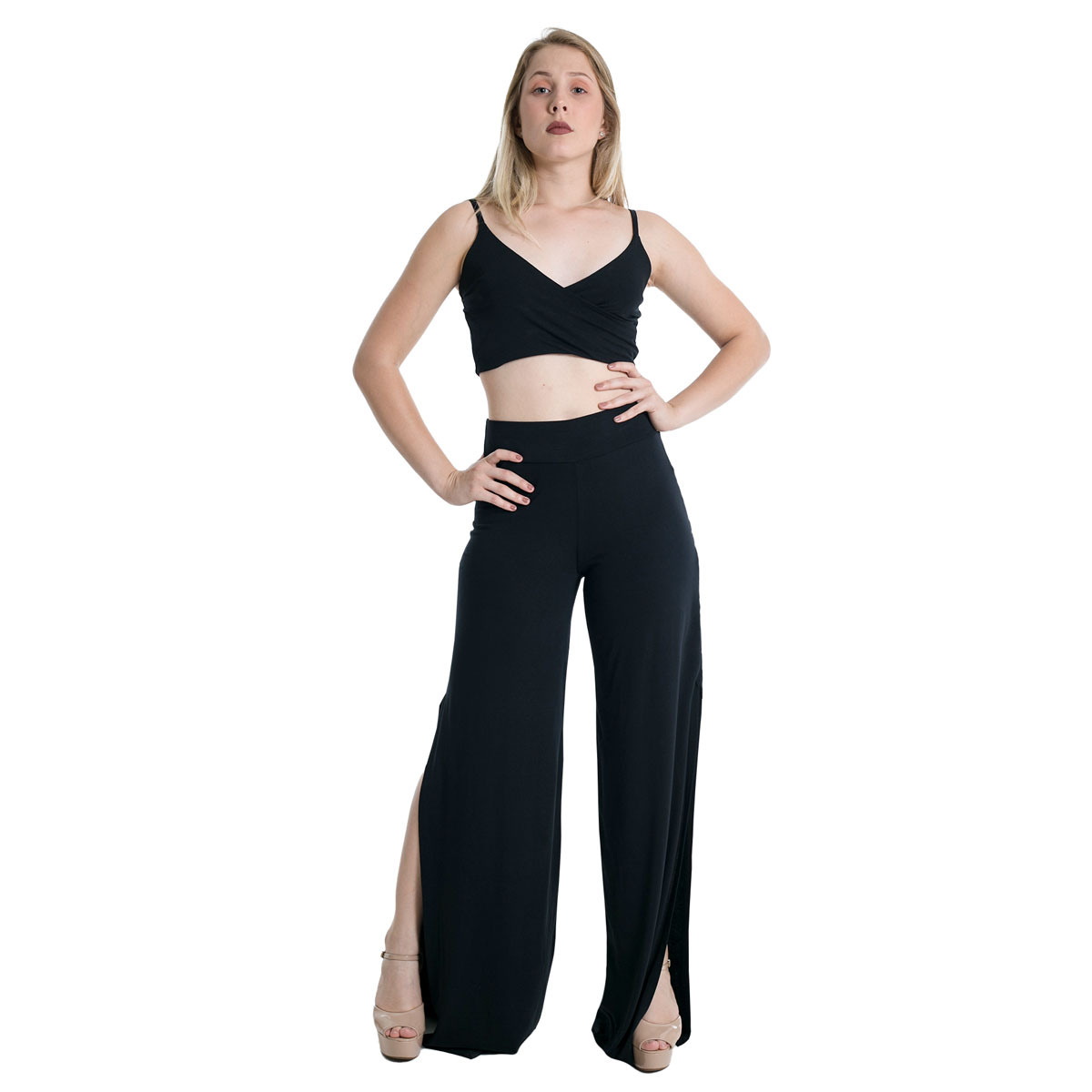 Calça Pantalona Laterais Abertas Cintura Alta Lynnce