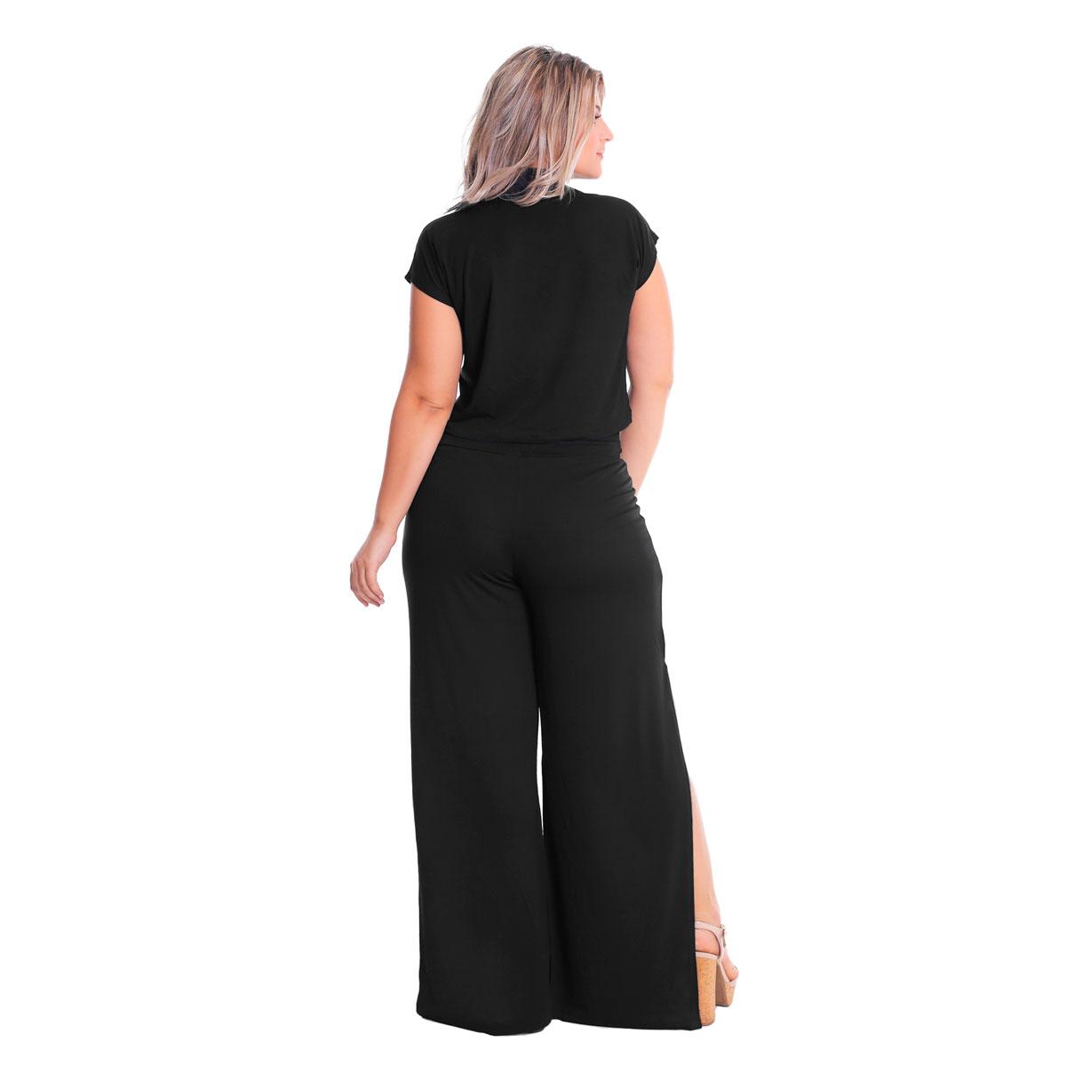 Calça Pantalona Laterais Abertas Cintura Alta Plus Size Lynnce