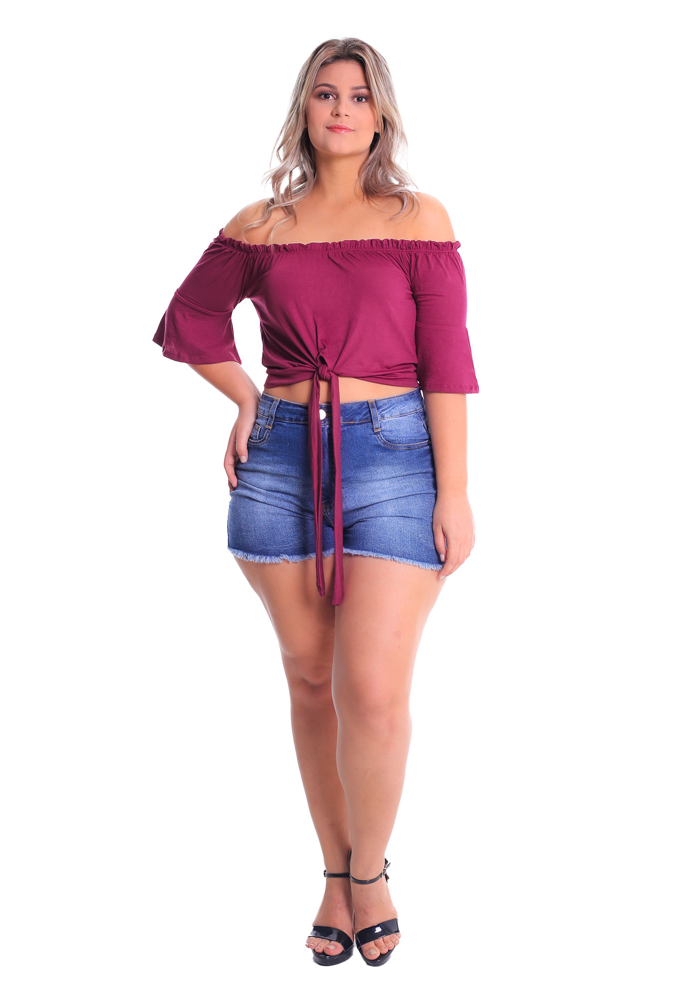 Cropped Ciganinha 3/4 Flare Plus Size Lynnce