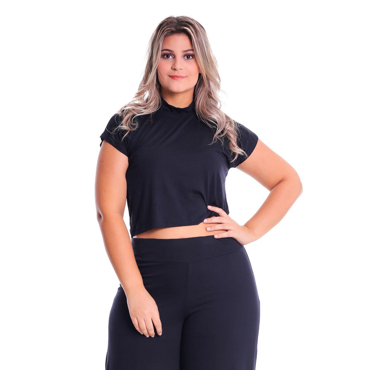 Cropped T-Shirt Gola Alta Plus Size Lynnce