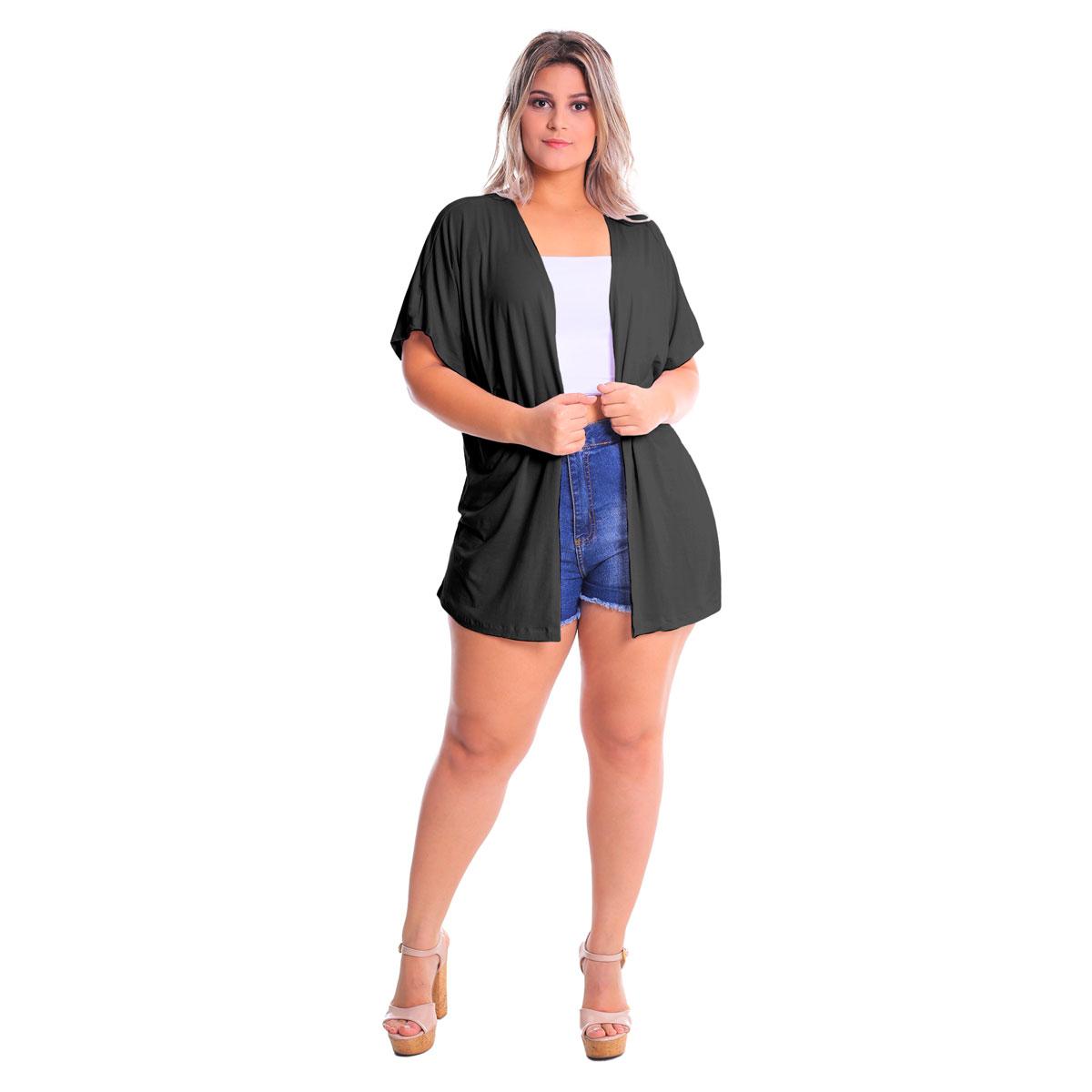 Kimono Manga Larga Plus Size Lynnce