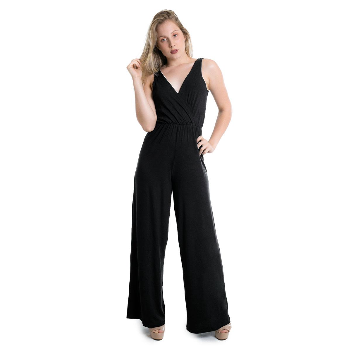 Macacão Longo Decote V Pantalona Lynnce