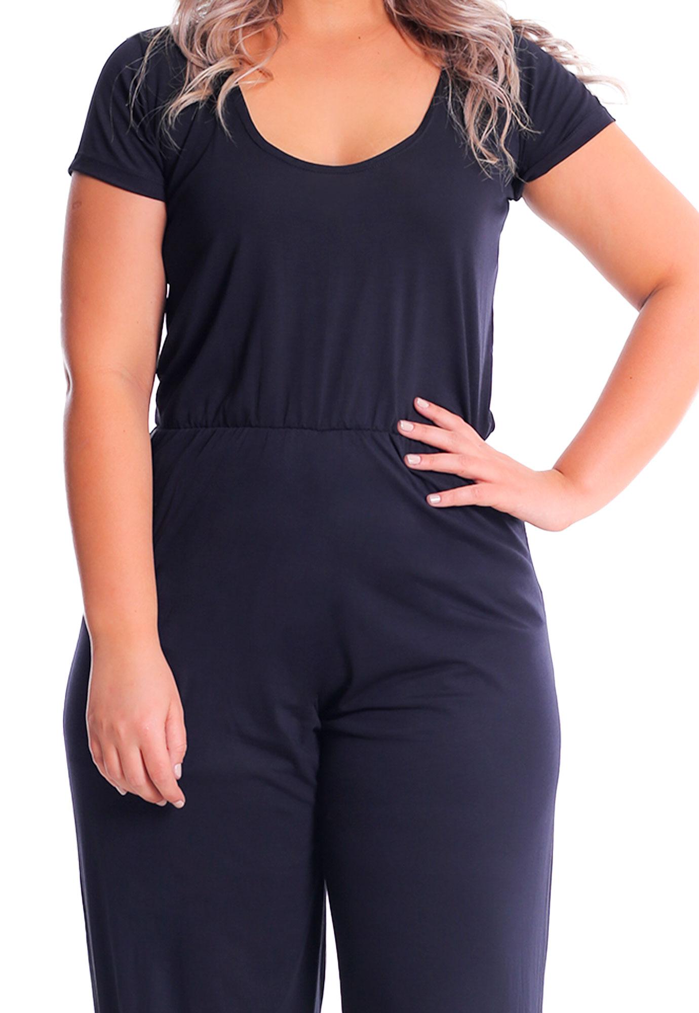Macacão Longo T-shirt Plus Size Lynnce