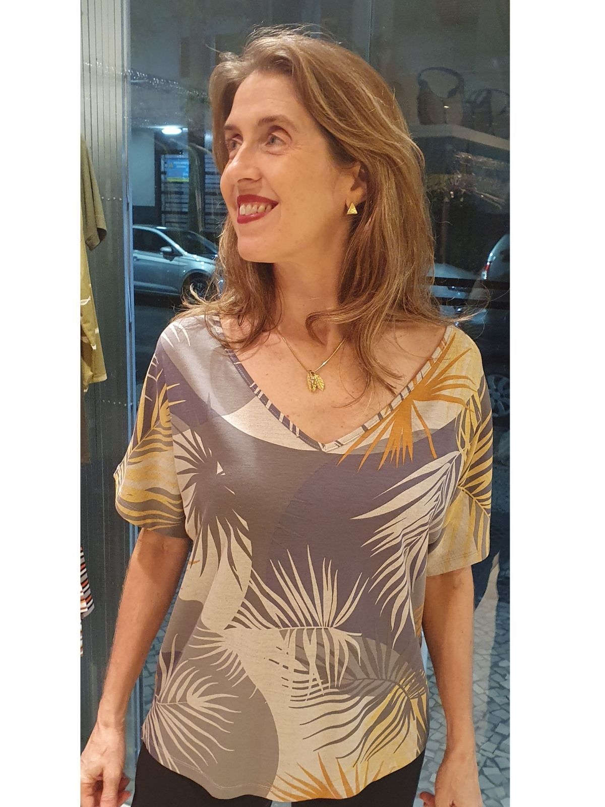 Blusa Ampla Malha Estampada Gilda em 7 Cores