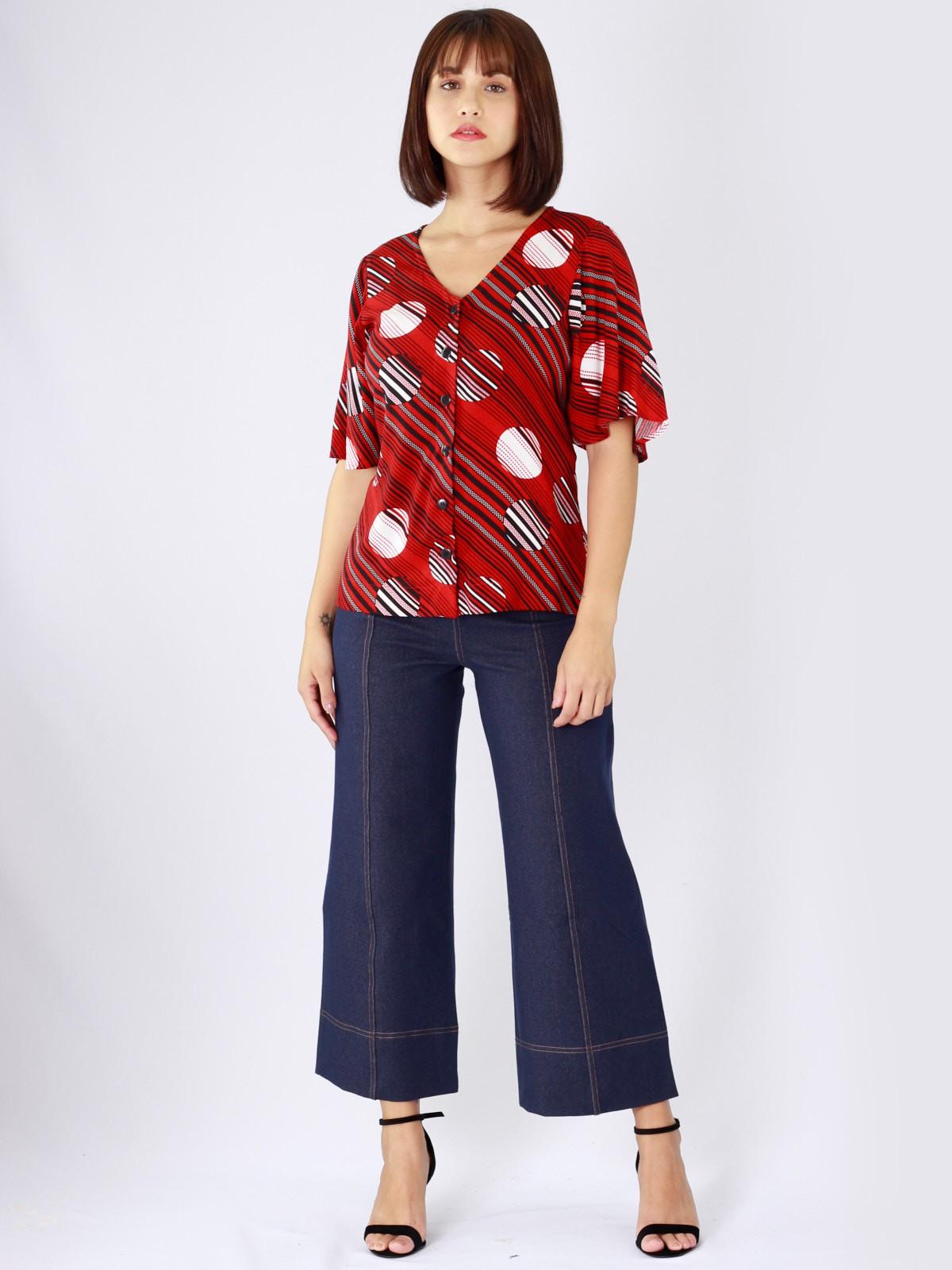 Blusa com Manga de Viscose Estampada