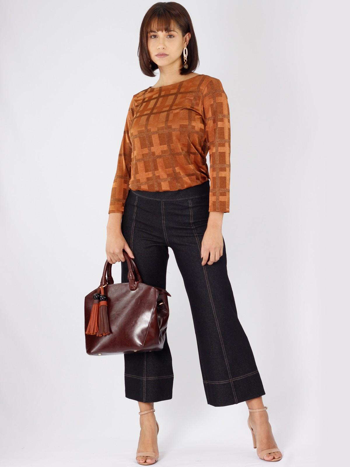 Calça Pantacourt Jeans de Malha