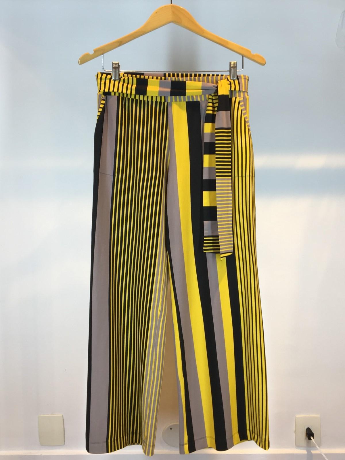 Calça Pantalona de Malha Listrada Amarela