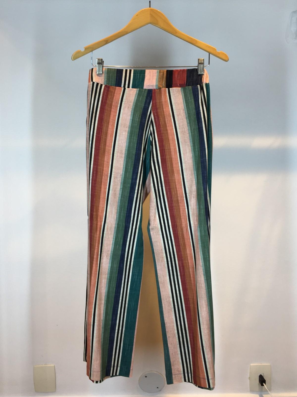 Calça Pantalona Malha Listrada