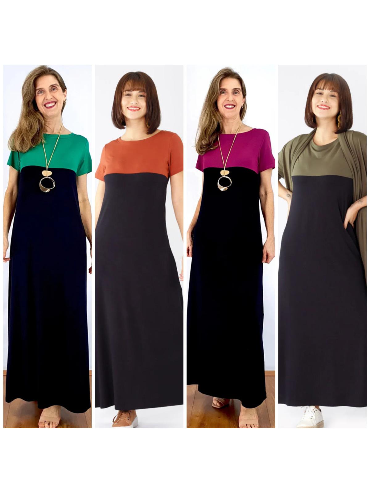 Vestido Longo de Malha Bicolor em 4 Cores