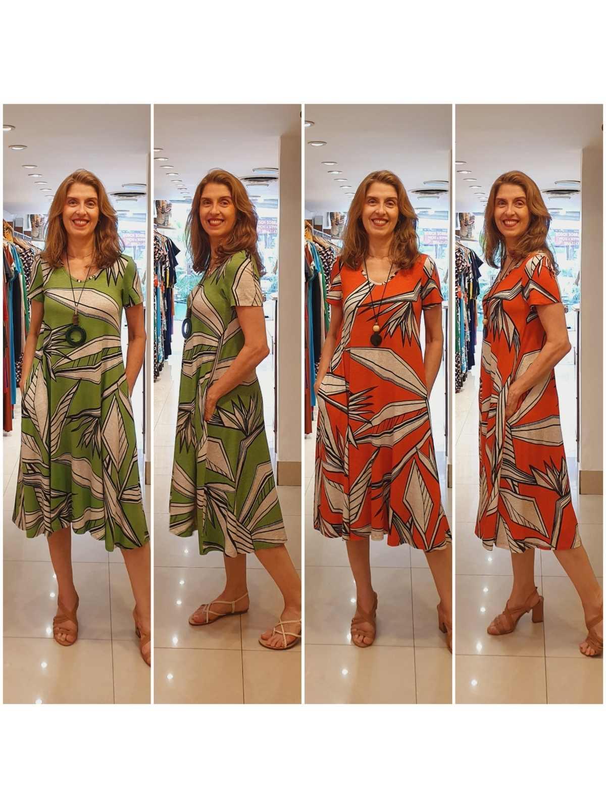 Vestido Carla em Viscolycra Premium com Estampa Reativa Alta Qualidade