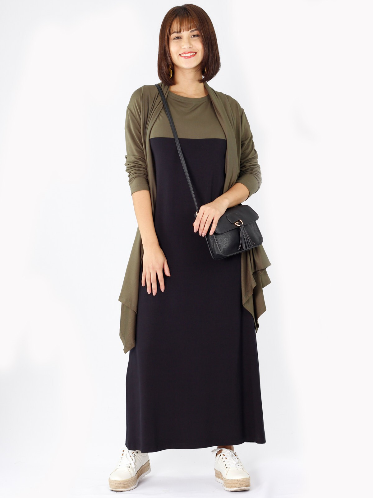 Vestido Longo de Malha Bicolor