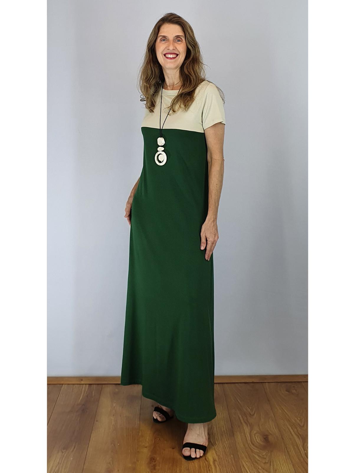 Vestido Longo de Malha Bicolor Wilma