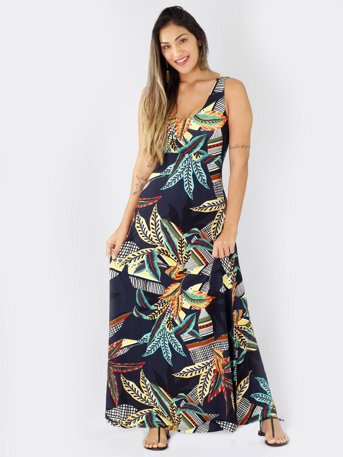 Vestido Longo de Malha Estampada em 6 Cores