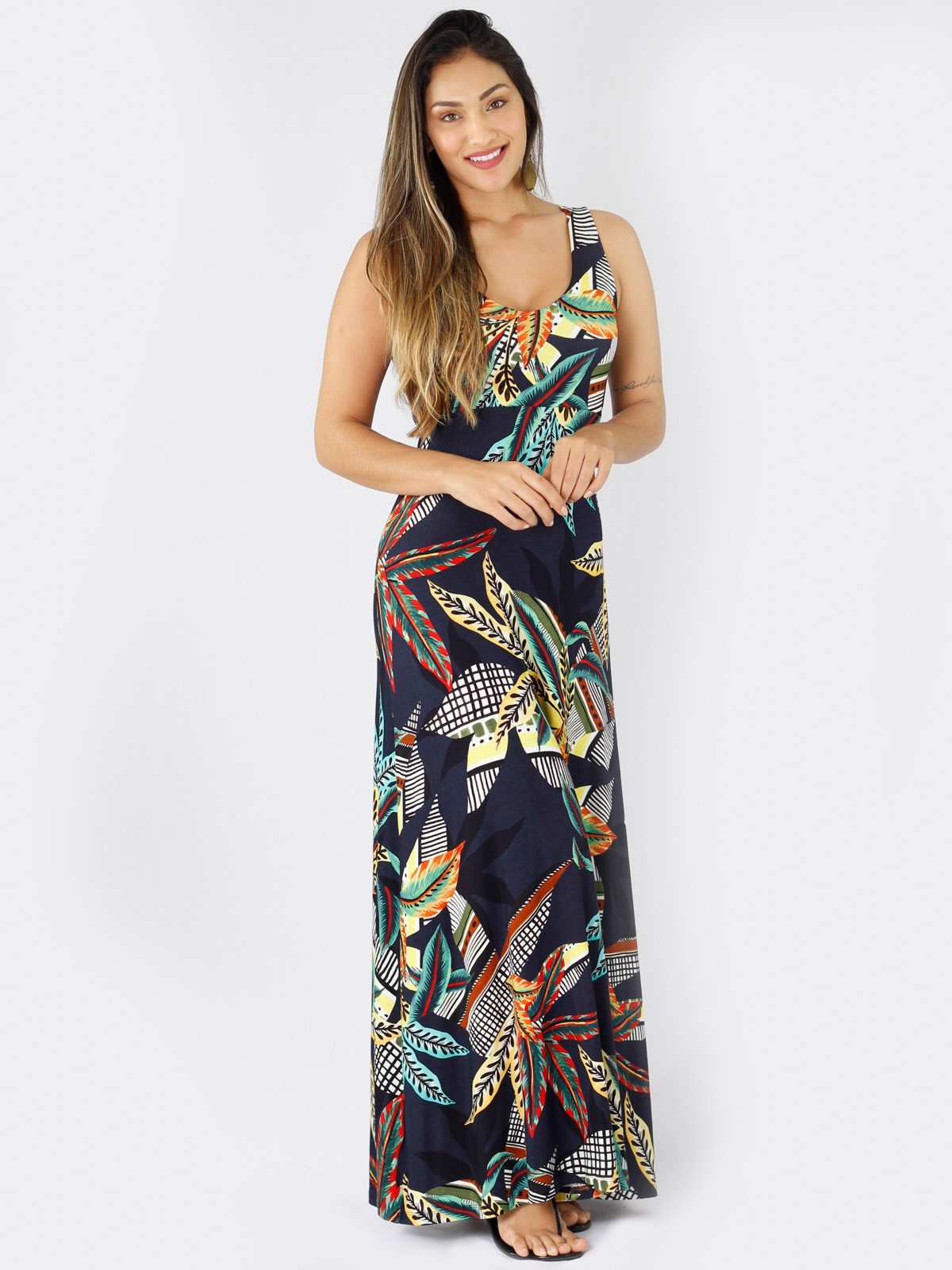 Vestido Longo de Malha Estampada