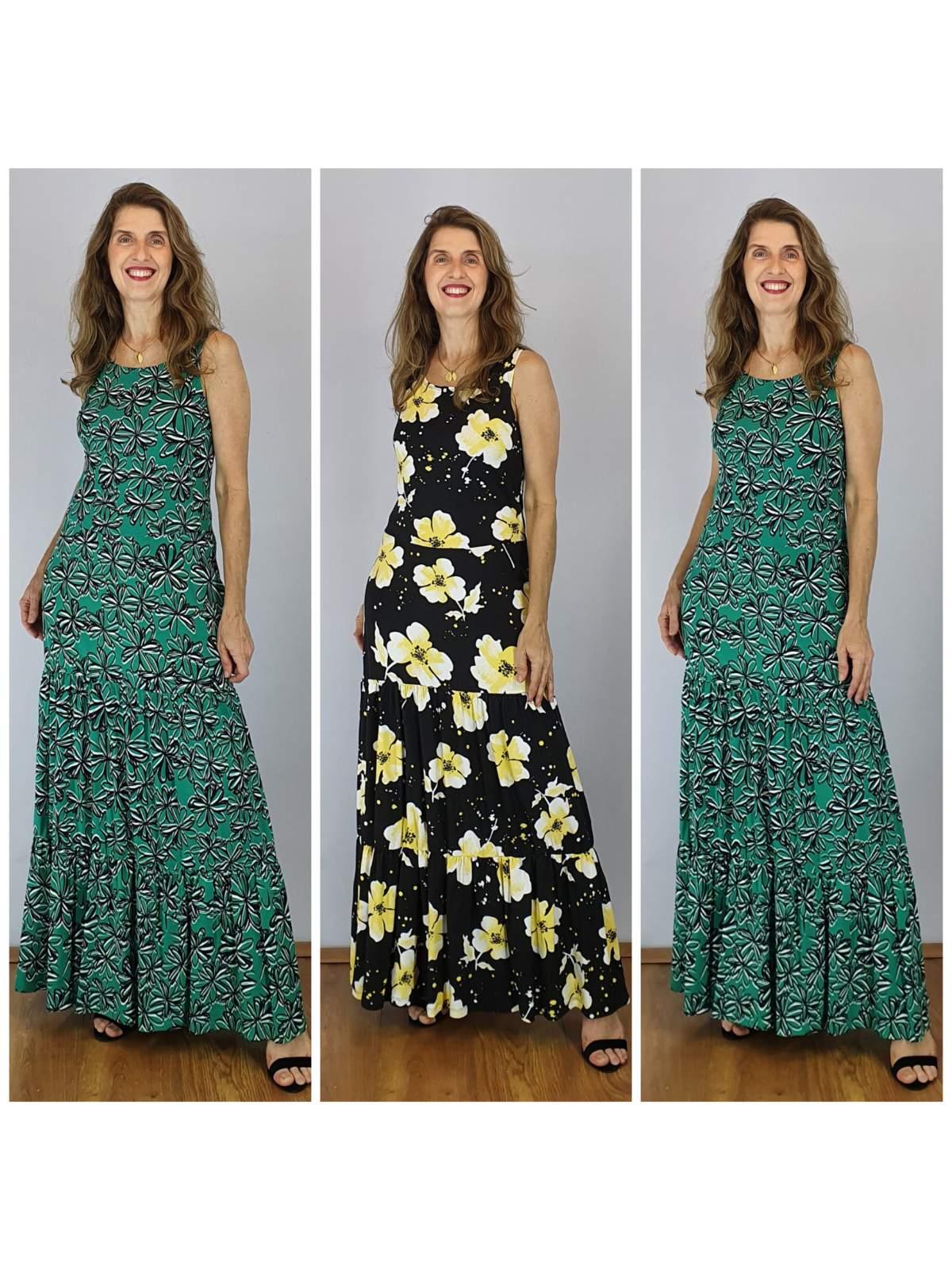 Vestido Longo de Malha Estampada em 2 Estampas
