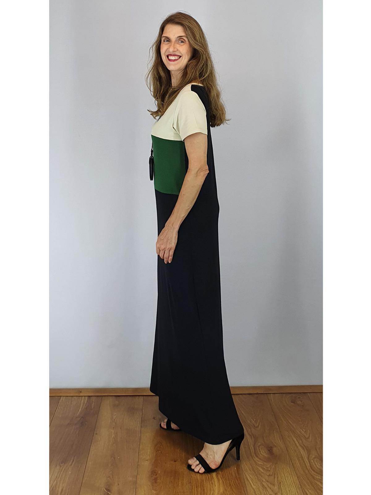 Vestido Longo de Malha Tricolor Wilma