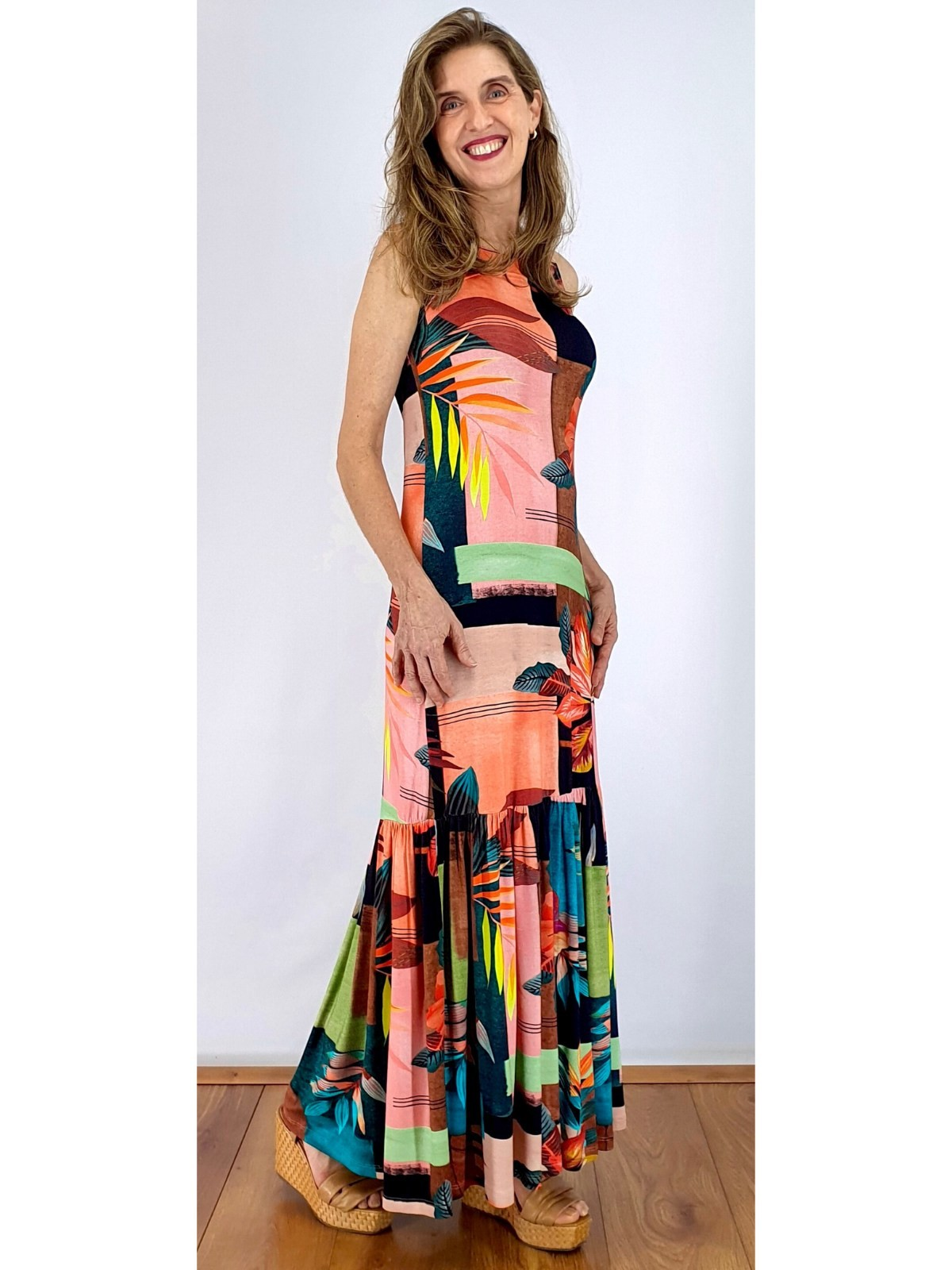 Vestido Longo Malha Estampa Digital