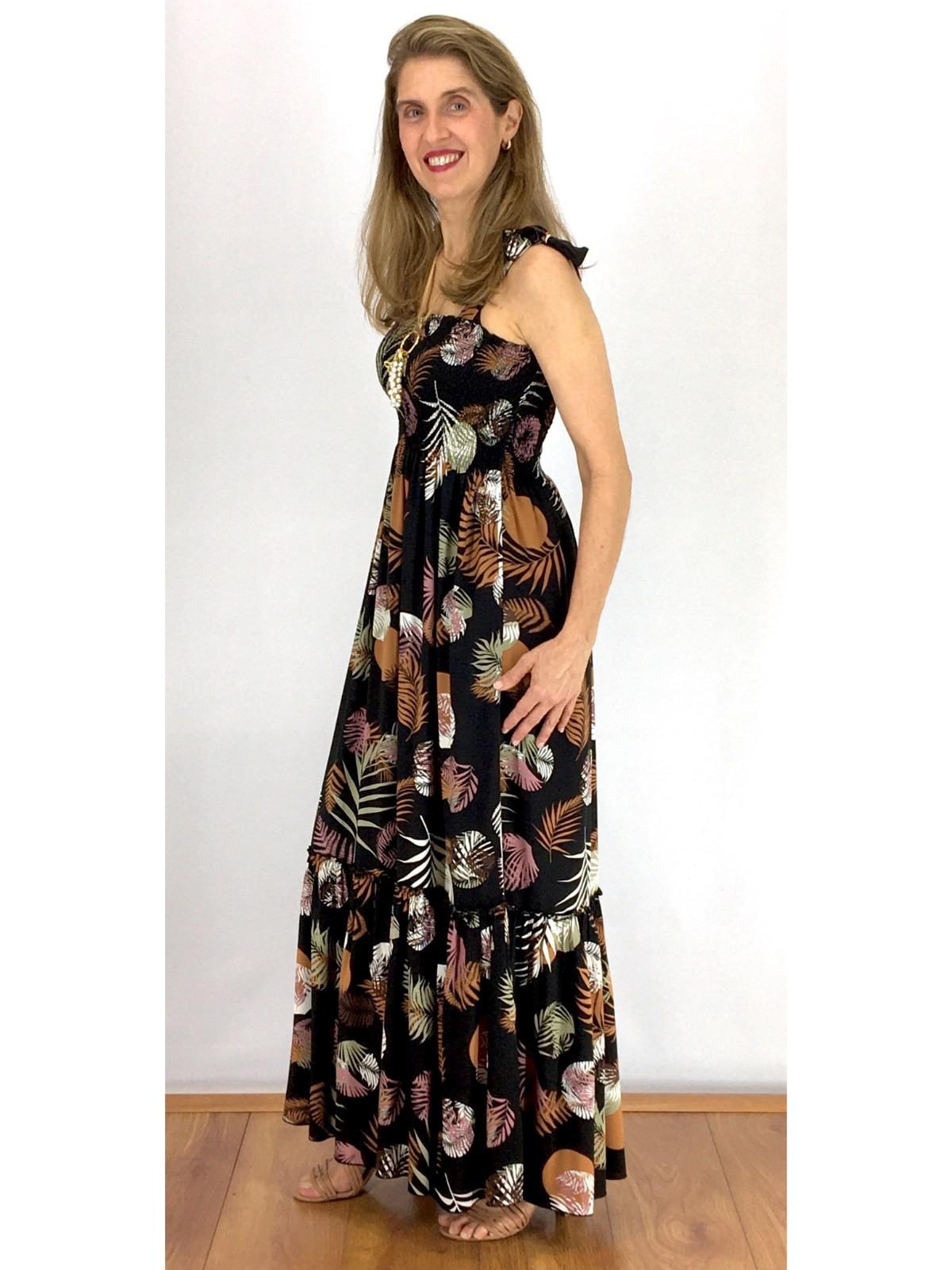 Vestido Longo Viscose Estampado