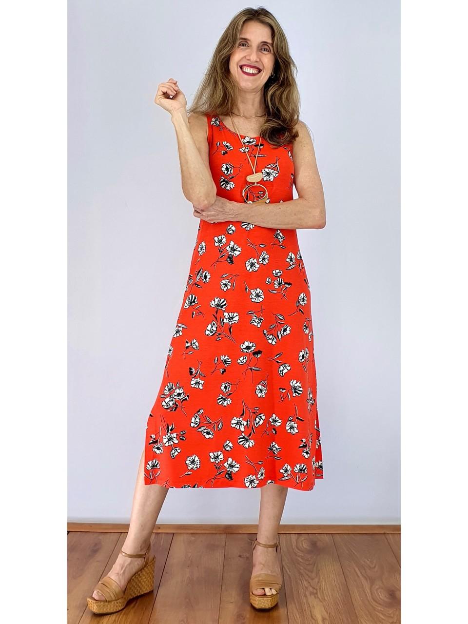 Vestido Longuete com Abertura Lateral em Malha Estampada