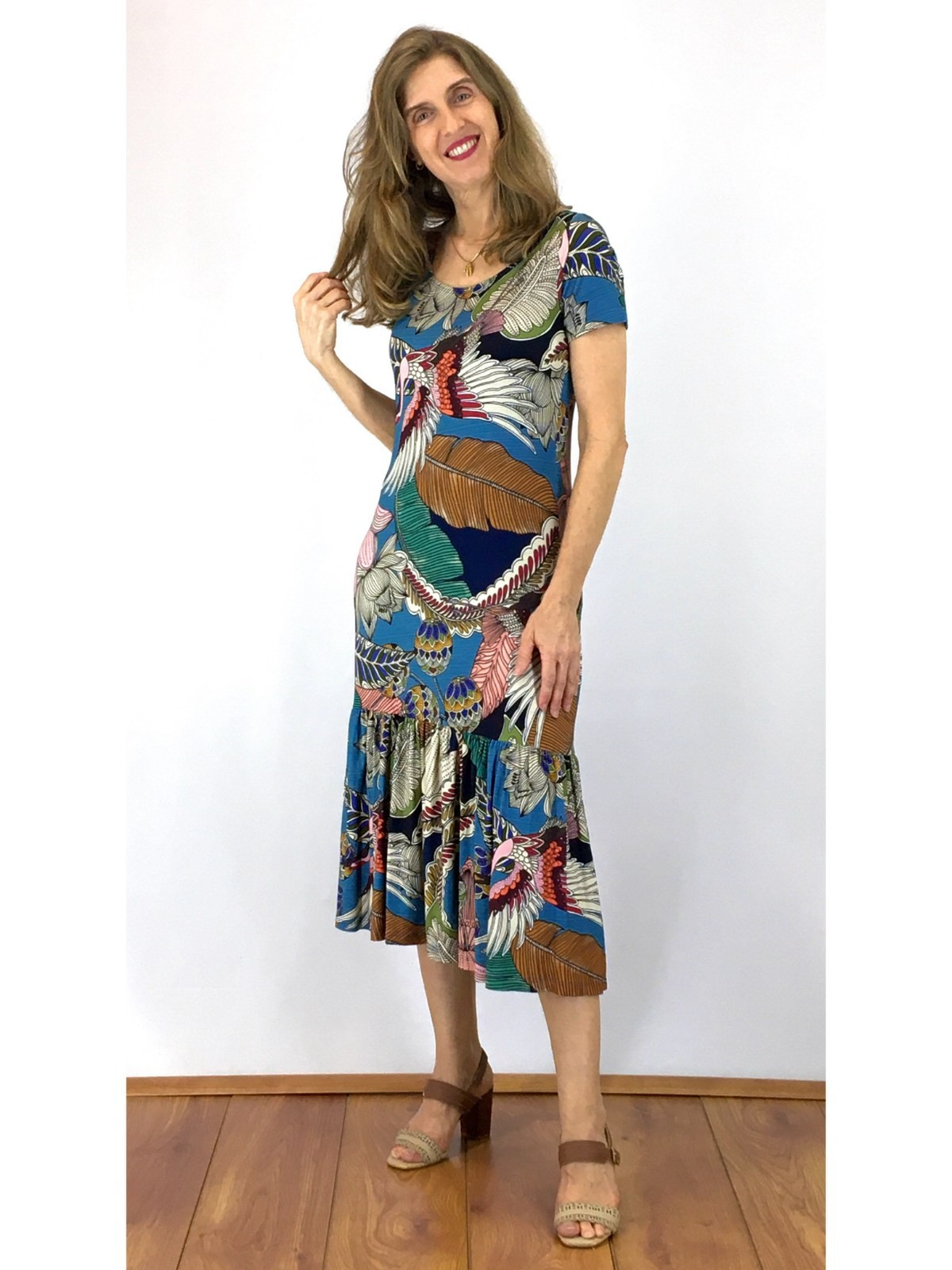 Vestido Longuete Malha Estampa Digital